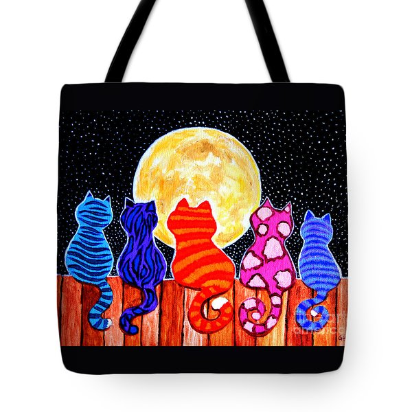 Meowing At Midnight Tote Bag by Nick Gustafson