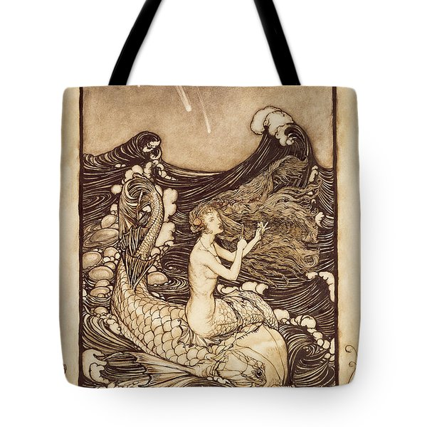 Mermaid And Dolphin From A Midsummer Nights Dream Tote Bag by Arthur Rackham