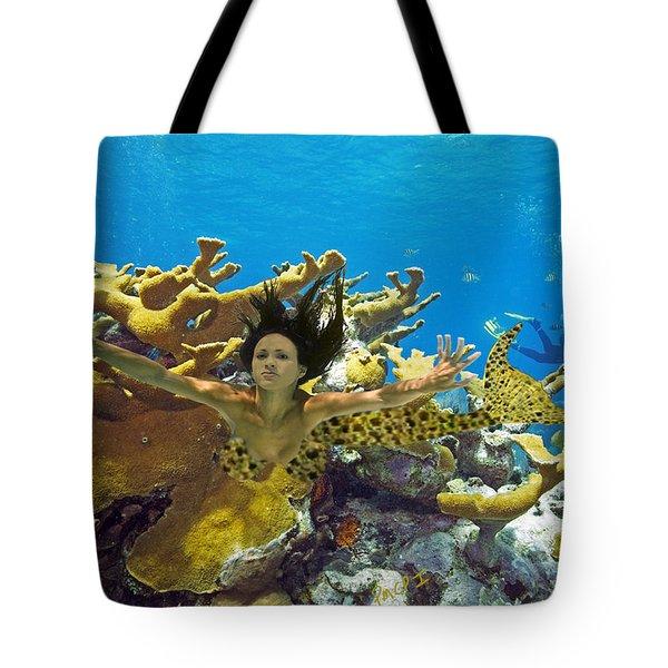 Mermaid Camoflauge Tote Bag by Paula Porterfield-Izzo