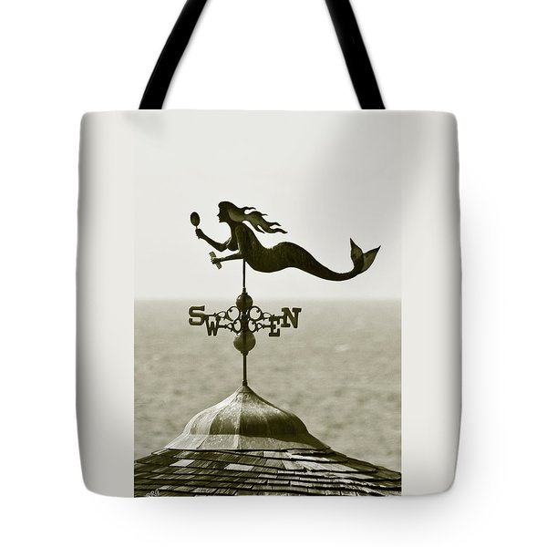 Mermaid Weathervane In Sepia Tote Bag by Ben and Raisa Gertsberg