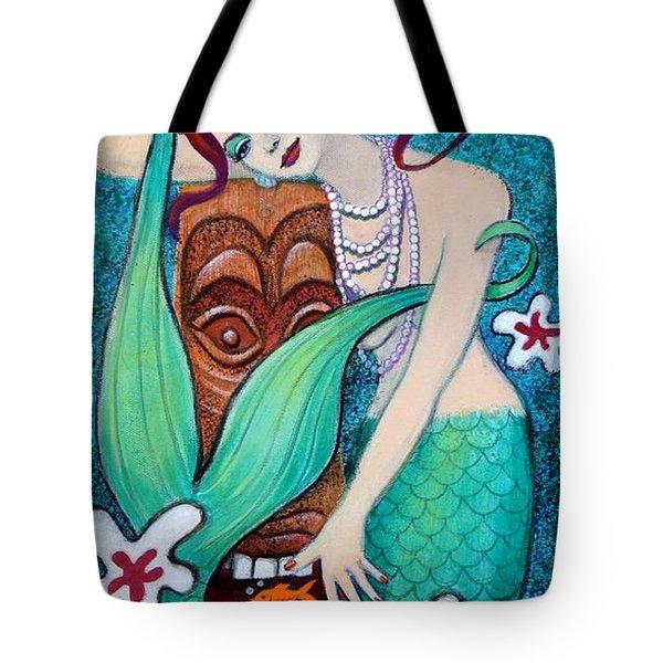 Mermaid's Tiki God Tote Bag by Sue Halstenberg