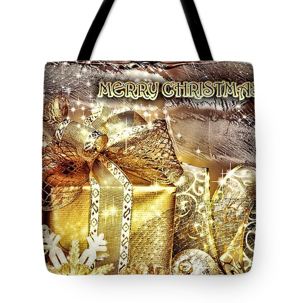 Merry Christmas Gold Tote Bag by Mo T