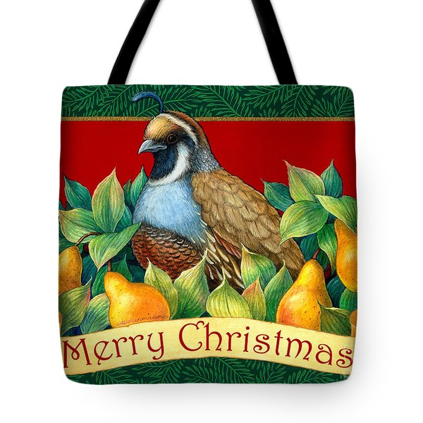 Merry Christmas Partridge Tote Bag by Randy Wollenmann