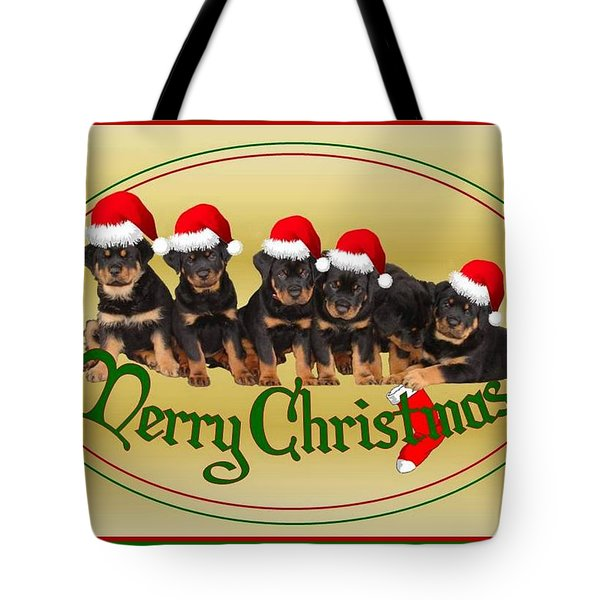 Merry Christmas Rottweiler Puppies Greeting Card Tote Bag by Tracey Harrington-Simpson