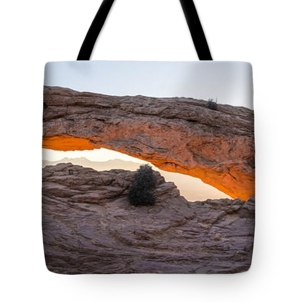 Mesa Arch Sunrise Panorama - Canyonlands National Park - Moab Utah Tote Bag by Brian Harig