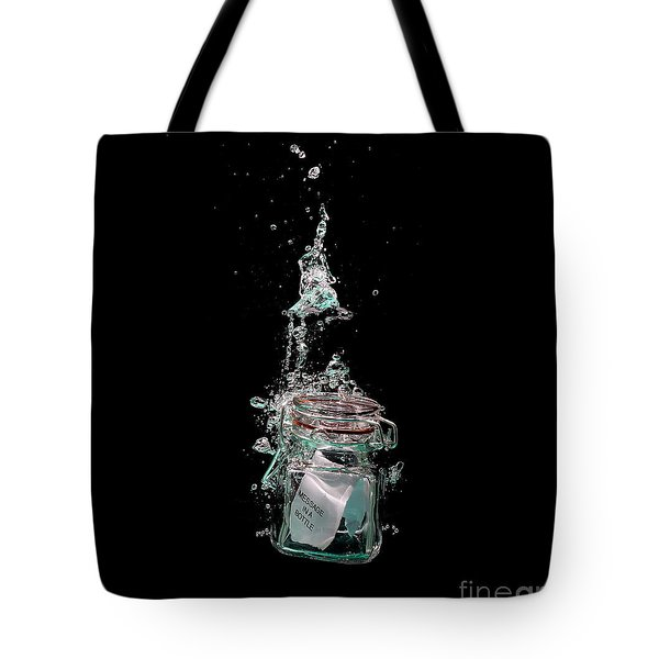 Message in sinking bottle Tote Bag by Simon Bratt Photography LRPS