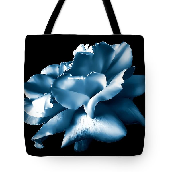 Metallic Blue Rose Flower Tote Bag by Jennie Marie Schell