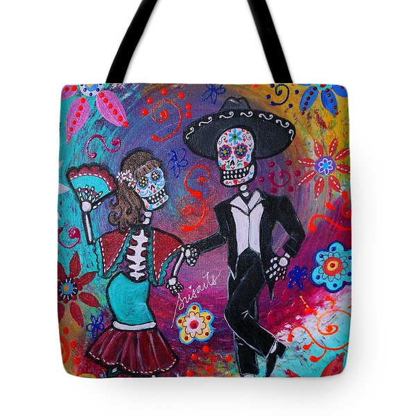 Mexican Couple Bailar Dancers Mariachi Tote Bag by Pristine Cartera Turkus