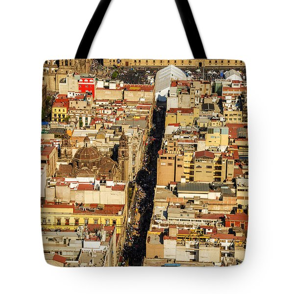 Mexico City Cathedral and Zocalo Tote Bag by Jess Kraft