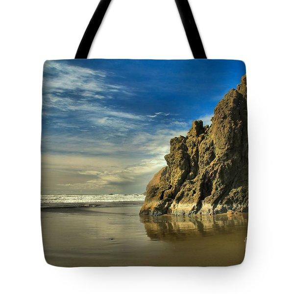 Meyers Beach Stacks Tote Bag by Adam Jewell