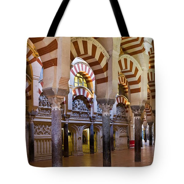 Mezquita Prayer Hall In Cordoba Tote Bag by Artur Bogacki