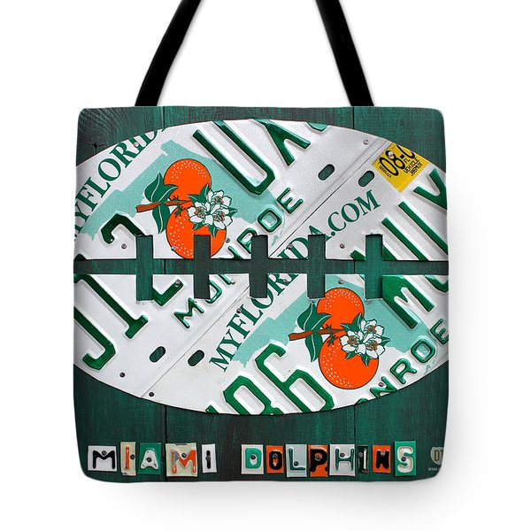 Miami Dolphins Football Recycled License Plate Art Tote Bag by Design Turnpike