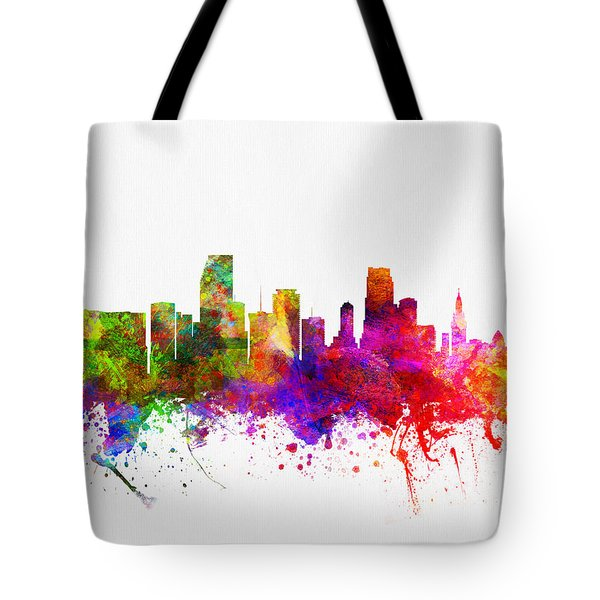 Miami Florida Skyline Tote Bag by Aged Pixel