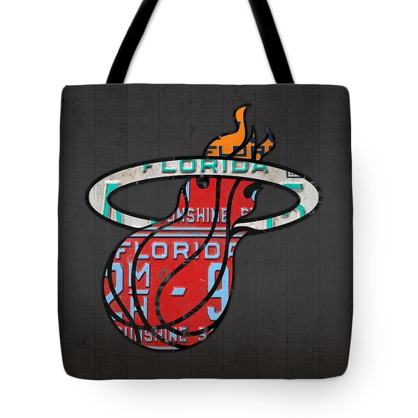 Miami Heat Basketball Team Retro Logo Vintage Recycled Florida License Plate Art Tote Bag by Design Turnpike