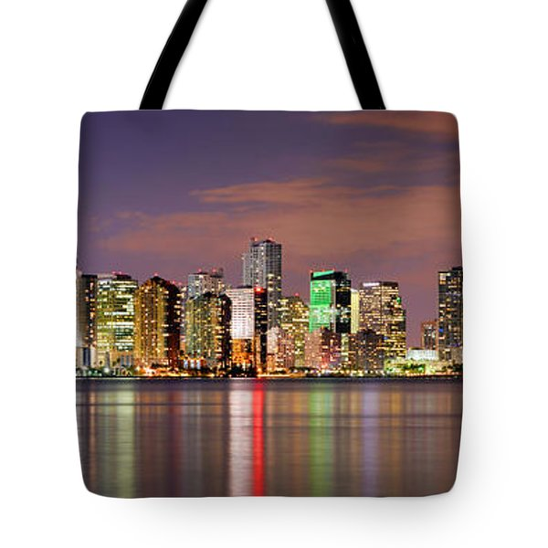 Miami Skyline At Dusk Sunset Panorama Tote Bag by Jon Holiday