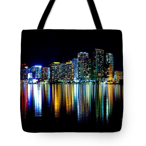 Miami Skyline High Res Tote Bag by Rene Triay Photography