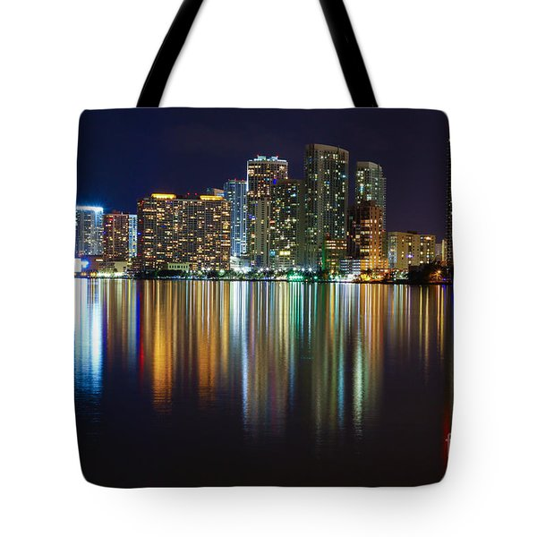 Miami Skyline IIi High Res Tote Bag by Rene Triay Photography