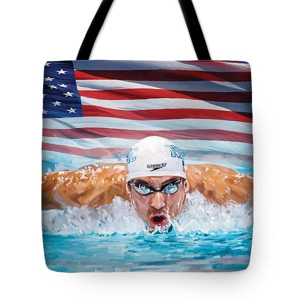 Michael Phelps Artwork Tote Bag by Sheraz A