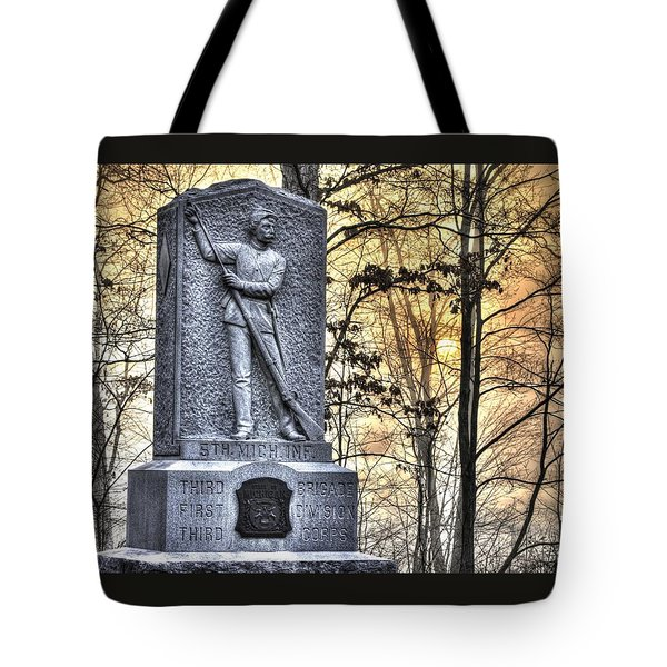 Michigan At Gettysburg - 5th Michigan Infantry Sunrise And Morning Mist In The Rose Woods Tote Bag by Michael Mazaika