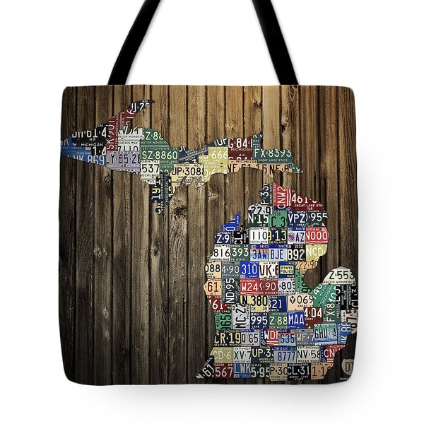 Michigan Counties State License Plate Map Tote Bag by Design Turnpike