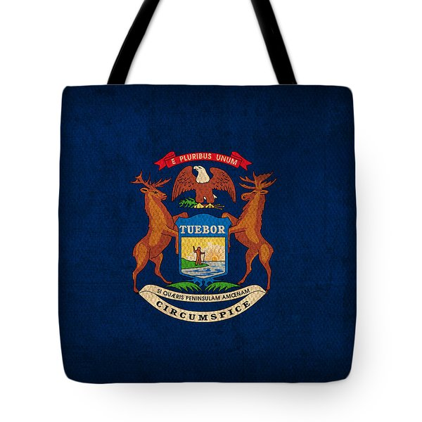 Michigan State Flag Art On Worn Canvas Tote Bag by Design Turnpike