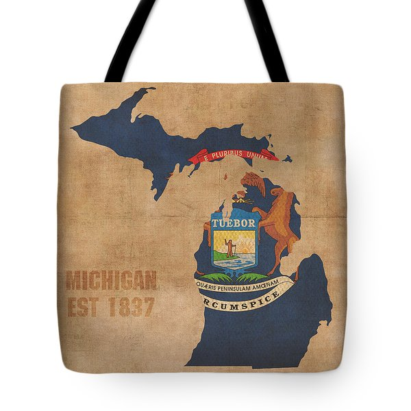Michigan State Flag Map Outline With Founding Date On Worn Parchment Background Tote Bag by Design Turnpike