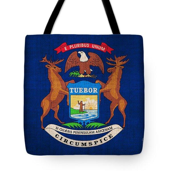 Michigan state flag Tote Bag by Pixel Chimp