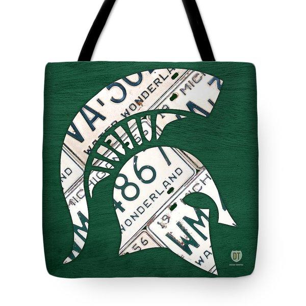 Michigan State Spartans Sports Retro Logo License Plate Fan Art Tote Bag by Design Turnpike