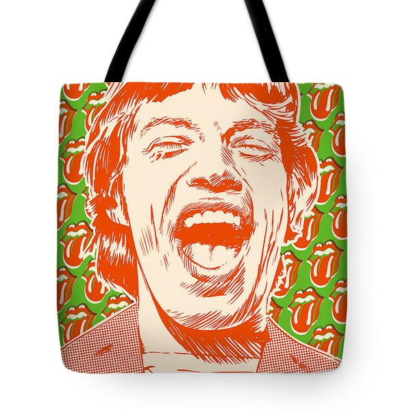 Mick Jagger Pop Art Tote Bag by Jim Zahniser