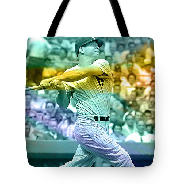 Mickey Mantle Tote Bag by Marvin Blaine