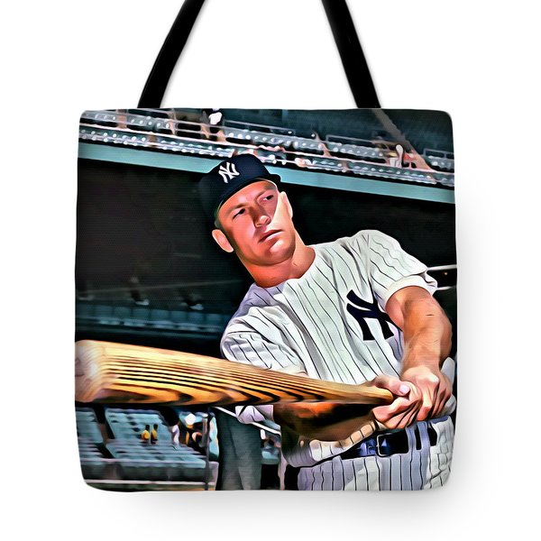 Mickey Mantle Painting Tote Bag by Florian Rodarte