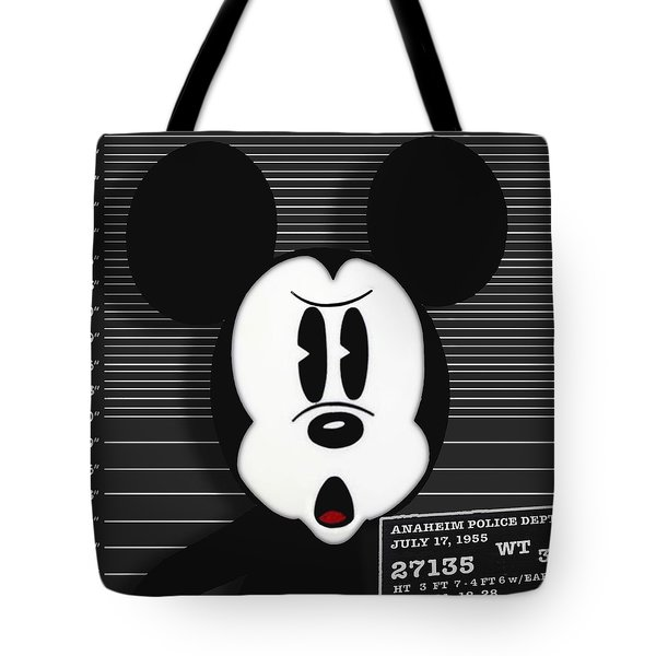 Mickey Mouse Disney Mug Shot Tote Bag by Tony Rubino