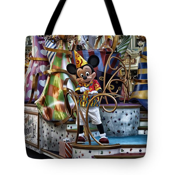 Mickey Mouse On His Celebrate It Float Tote Bag by Thomas Woolworth