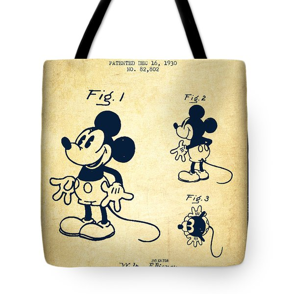 Mickey Mouse Patent Drawing From 1930 - Vintage Tote Bag by Aged Pixel