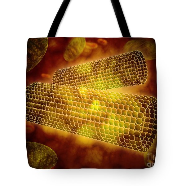 Microscopic View Of Centrioles Tote Bag by Stocktrek Images