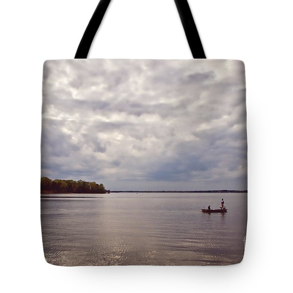 Mid Lake Storm Tote Bag by Scott Pellegrin