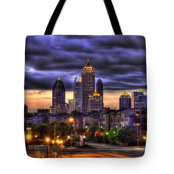 Midtown Atlanta Towers Over Atlantic Commons Tote Bag by Reid Callaway