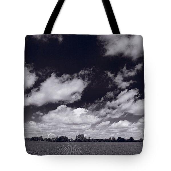Midwest Corn Field BW Tote Bag by Steve Gadomski