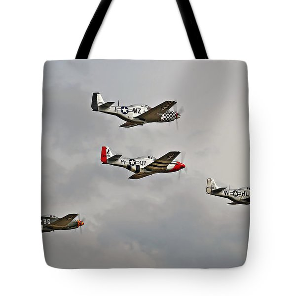 Mighty 8th P51 Mustangs  Tote Bag by Pat Speirs