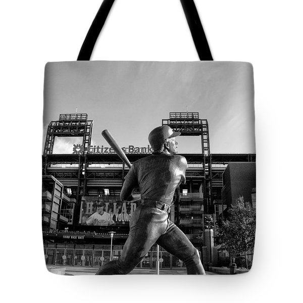 Mike Schmidt Statue in Black and White Tote Bag by Bill Cannon