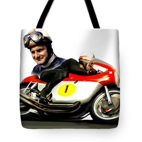 Mike The Bike  Mike Hailwood Tote Bag by Iconic Images Art Gallery David Pucciarelli