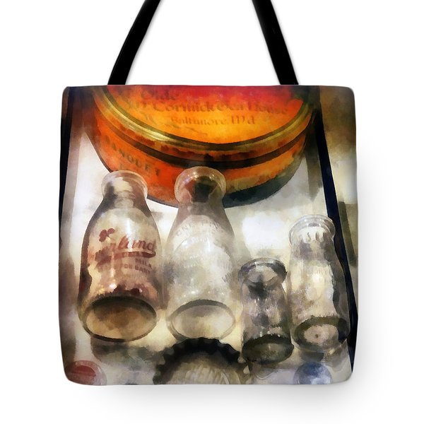 Milk Bottles in Dairy Case Tote Bag by Susan Savad