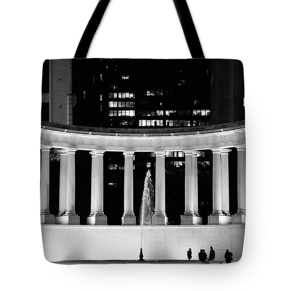 Millennium Monument and Fountain Chicago Tote Bag by Christine Till