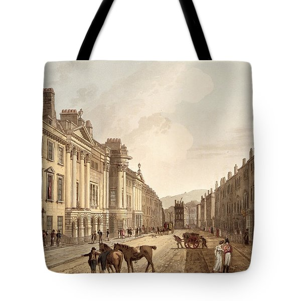Milsom Street, From Bath Illustrated Tote Bag by John Claude Nattes