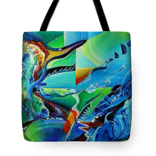 mindscape no.2-Improvisation Saxophone and Piano Tote Bag by Wolfgang Schweizer