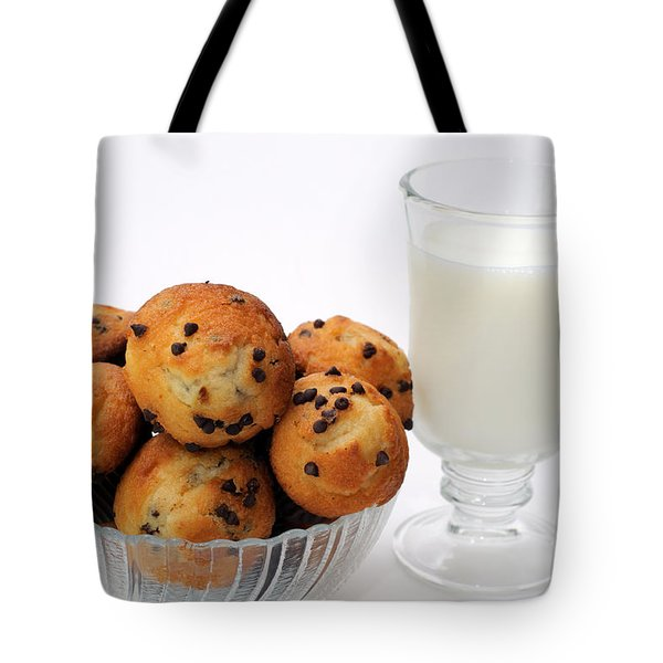 Mini Chocolate Chip Muffins And Milk - Bakery - Snack - Dairy - 1 Tote Bag by Andee Design