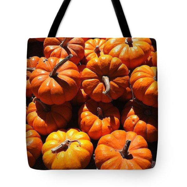 Mini Fall Pumpkins Tote Bag by Denyse Duhaime