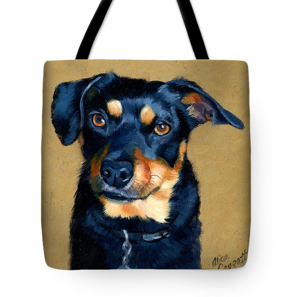 Miniature Pinscher Dog Painting Tote Bag by Alice Leggett