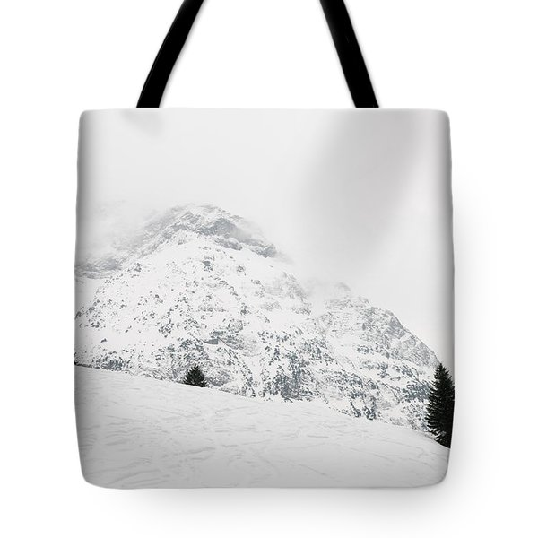 Minimalist Snow Landscape - Mountain And Trees In Winter Tote Bag by Matthias Hauser