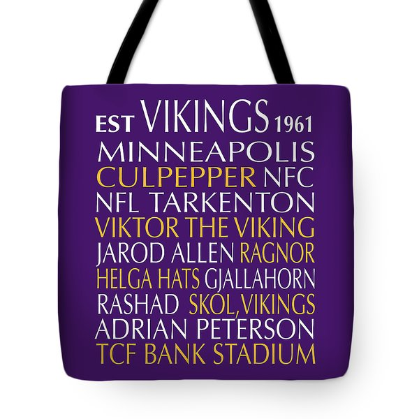 Minnesota Vikings Tote Bag by Jaime Friedman